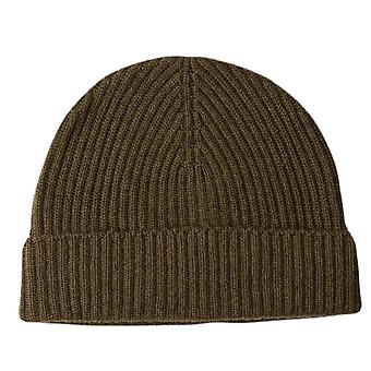 Johnstons of Elgin Cashmere Ribbed Hat - Dark Olive