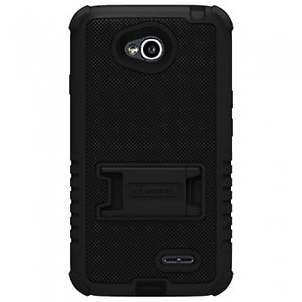 LG OPTIMUS L70 BEYOND CELL TRI SHIELD CASE - BLACK/BLACK