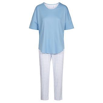 1203084-15645 Women-apos;s Smart Casual Graphic Minimal Blue Pyjama Set