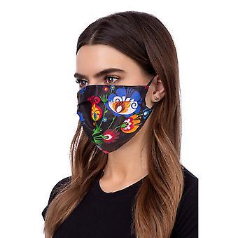 Vaskbar profileret ansigtsmaske - folklore sort
