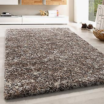 High Flor Shaggy Rug Soft Long Floral Taupe Beige Mocca Cream Fondu