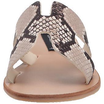 STEVEN by Steve Madden Women's Greece Sandal, White/Black, 6.5 M US