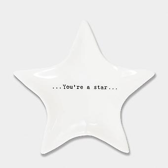 East of India Porcelain Ring Dish Star Keepsake Gift You're A Star