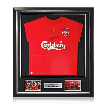 スティーブン・ジェラードはリバプール・チャンピオンズリーグのシャツ2005にサインした。デラックスフレーム
