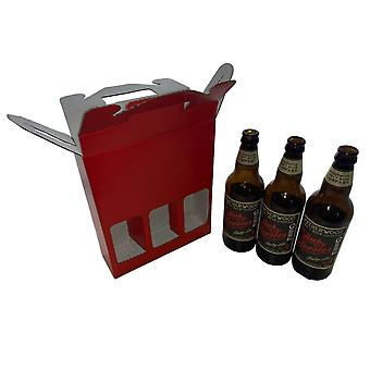 215mm x 70mm x  260mm | Red 3 x Beer Ale Cider Bottle Presentation Gift Box | 100 Pack
