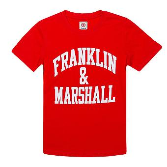 Boy's Franklin And Marshall Junior F&M Logo Crew T-Shirt in Red