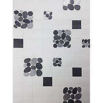Off White Tile Effect Wallpaper Pebble Silver Metallic Vinyl Kitchen Bathroom