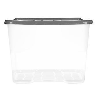 Strata 24L Courbe Boîte de stockage Poignée Rainures Plastique Construction Couvercle supérieur