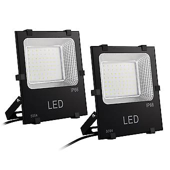 DELight 50W LED Flood Light 5200LM Lawn Security Spotlight Cool White 6500K IP66 320W Halogen Bulb Equivalent(pack of 2)