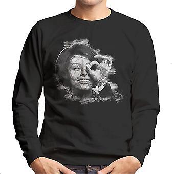 Sophia Loren schwarz und weiße Skizze Kunst Herren Sweatshirt