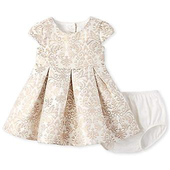 The Children's Place Baby Girls Printed Jacquard Dress, Gold, 12-18MOS