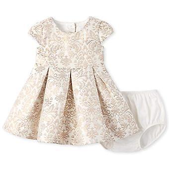 De Children's Place Baby Girls Printed Jacquard Dress, Gold, 12-18MOS