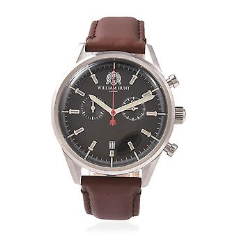 WILLIAM HUNT Swiss Movement Water Resistance Watch in Steel with Leather Strap