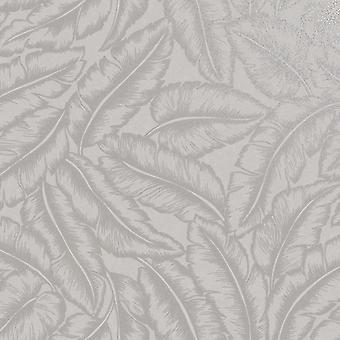 Elgin Tropical Leaf Wallpaper Grey Holden 65730