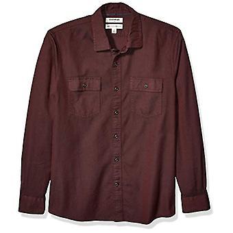 Marque - Goodthreads Men's -Fit Long-Sleeve Plaid Twill Shirt, Bourgogne...