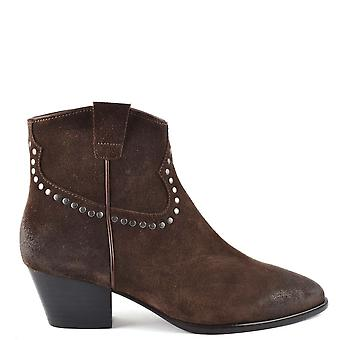 Ash Footwear Houston Bis Suede Brushed Ankle Boots Espresso