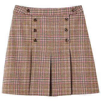 Joules Womens Haddie Check Wool Tweed A Line Skirt