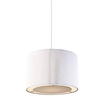 Cylindrique Plafond Pendentif Light Chrome, Blanc Tc Tissu, E27