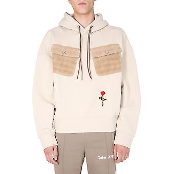 Palm Angels Pmbb086e20fle0016125 Homme-apos;s Beige Cotton Sweatshirt