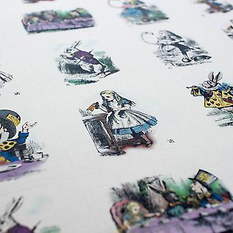 Farbe / schwarz / weiß gemischt ALICE IN WONDERLAND STICKER Blatt 35 Aufkleber