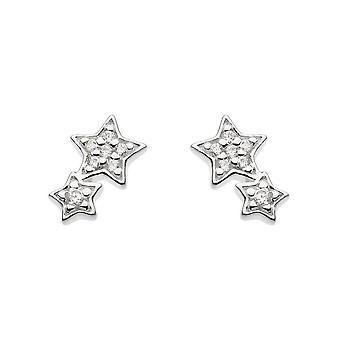 Dew Sterling sølv cubic zirconia Double Star Stud øredobber 3722CZ021
