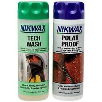 Nikwax Tech Wash and Polar Proof Textile Waterproof Twin Pack (300ml)