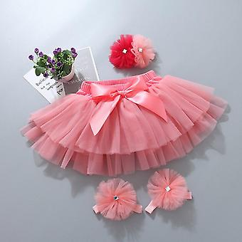 Baby Tutu Falda Bloomers Diaper Cover Newborn Infant Outfits, Headband Flower