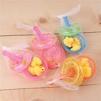 Mini Swimming Rubber Yellow Ducks/ Fishing Net Washing Swimming Floating Bath