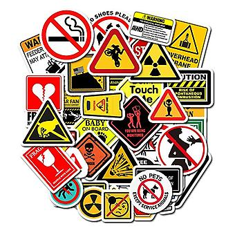 Warning Stickers, Danger Banning Signs Reminder Waterproof Decal Sticker