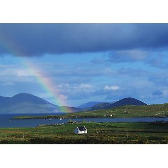 Ballinskellig Ring Of Kerry Co Kerry Ireland Rainbow Over A Landscape PosterPrint