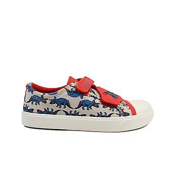 Clarks Tricer Roar Red Combi Canvas Childrens Rip Tape Shoes