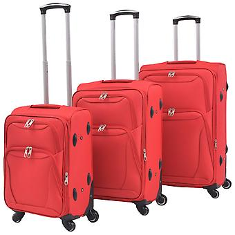 3-stk. Myk bagasje tralle sett rød