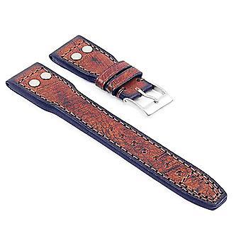 Strapsco dassari continental vintage bracelet en cuir italien w / rivets - longueur courte