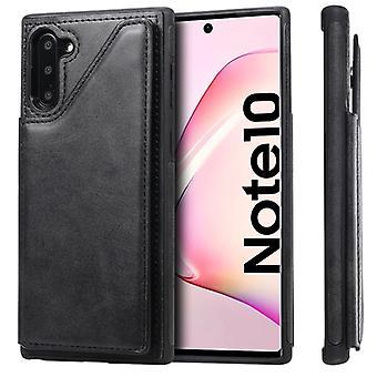 För Galaxy Note 10 stötsäker kalv textur skyddsfodral med hållare & Kortplatser & Ram(Svart)