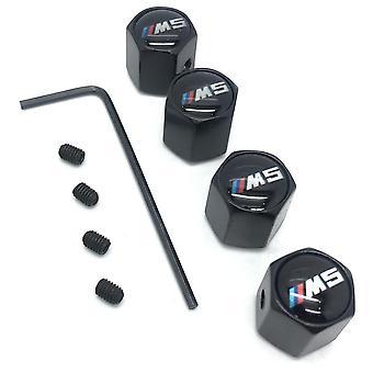 BMW M5 Set of 4 Black Anti-Theft Car Tyre Air Dust Valve Stem Cap With Allen Key