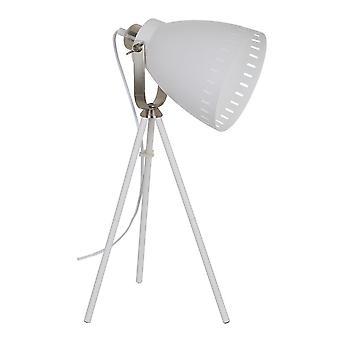 Lámpara de pie industrial y retro blanco, luz de níquel satinado 1 con sombra blanca, E27