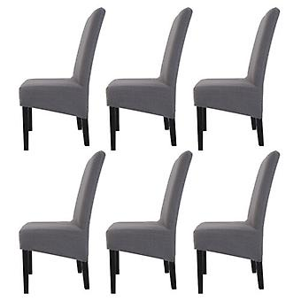 6pcs Removable High Back Knit Twill Stretch Seat Slip Chair Cover