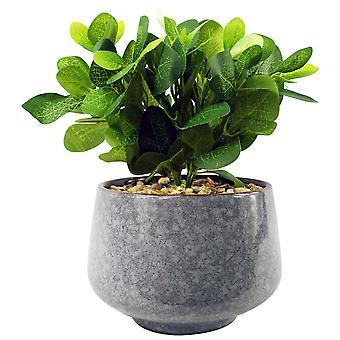 Plantador azul alto de cerámica de 23 cm con planta de mosaico verde artificial