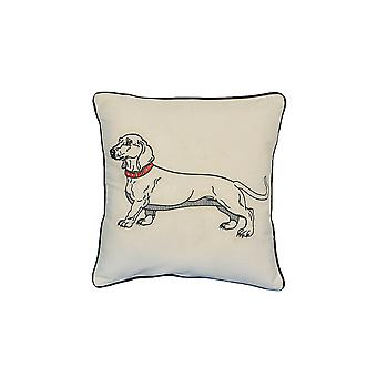 "Dacschund Dog Portrait Printed Design Novelty White Cotton Pillow 15""x15"""