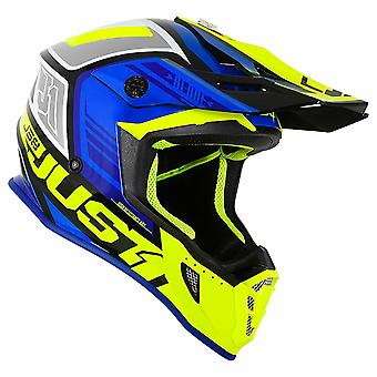 Just 1 J38 MX Full Face Off Road Helmet Blue Fluo Yellow Black ACU Approved