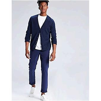 Encontrar. Men's Cotton Button Down Cardigan Sweater, Blue (Navy), Large