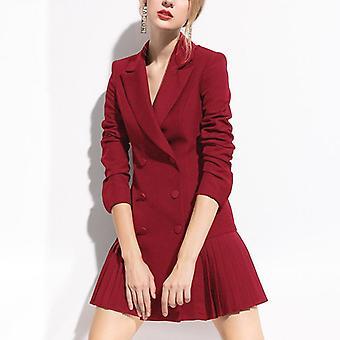 Φθινόπωρο Μόδα Blazer Γυναίκες Φόρεμα Διπλό Λιοντάρι Κουμπιά Κοστούμι Σακάκι
