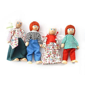 Dolls House Wooden Doll Family Set Of Four Dolls Miniature 3 Years + People