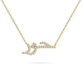 الطفل قلادة اسم الماس، 18K الذهب - الذهب الأصفر