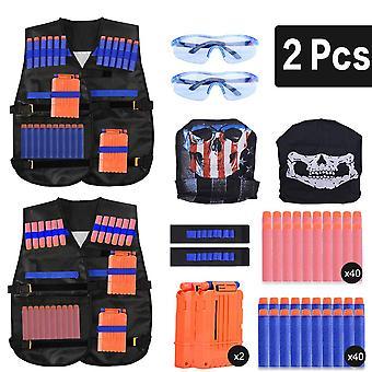 Extsud kids tactical vest, 2 sets nerf tactical vest for guns n-strike elite series with 80pcs refil