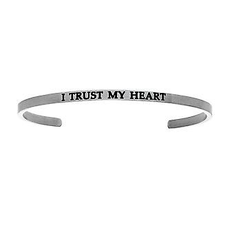 """Intuitions Stainless Steel I TRUST MY HEART Diamond Accent Cuff  Bangle Bracelet, 7"""""""
