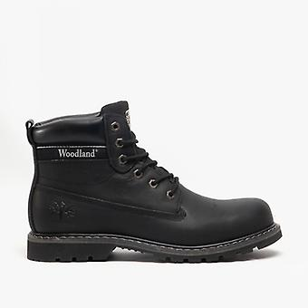 Woodland Glenn Mens Waxy Leather Lace-up Goodyear Welted Boots Black