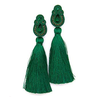 Long Tassel Earrings With Crystals