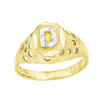 10k Kaksisävyinen Kultavauva pojille tai tytöilleKirjeen nimi Henkilökohtainen Monogrammi Initial O Band Ring Mitat 7.5x2.20mm Leveä S
