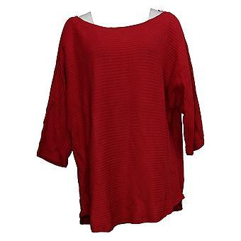 Isaac Mizrahi Live! Dames trui plus geribbelde steek rood A390287